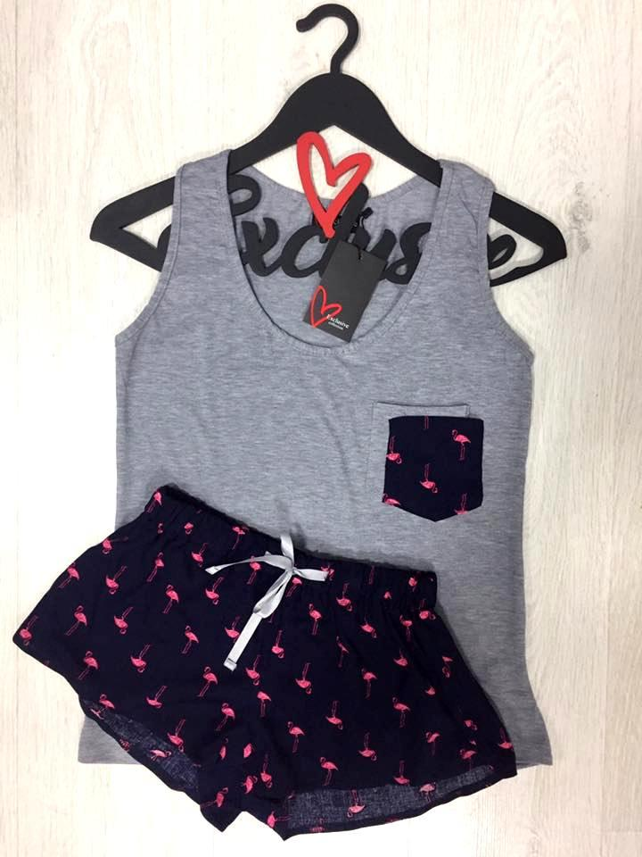 Пижама майка и шорты, фламинго