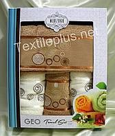 Турецкие махровые полотенца Merzuka Geo с коричневым