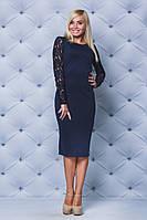 Трикотажное платье с кружевом т-синее