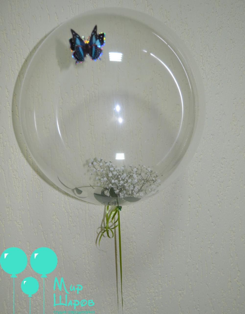 Пластиковый шар с живой флористикой внутри
