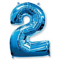 """Фольгована повітряна кулька цифра """"2"""" синя"""