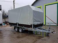 Прицеп для перевозки негабаритных грузов с бортами тентованый. Два тормозных торсиона 1500кг.