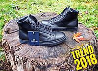Черные мужские ботинки кожаные молодежные на толстой подошве Cabani термо. 34372e9b73fb1