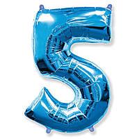 """Фольгована повітряна кулька цифра """"5"""" синя"""
