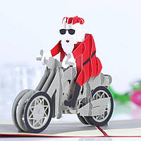 Рождество 3D мотоцикл Санта-Клаус всплывающих поздравительных открыток Рождественские подарки партии Поздравительная открытка