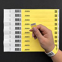 Одноразовые браслеты Tyvek со Штрих кодом Yellow (желтый)