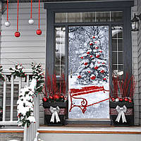 Рождественская елка 2017 Funlife3D Дверная наклейка Рождественская елка Креативная наклейка для стены Деревянная дверь Отремонтирована