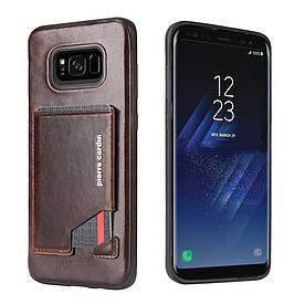 Чохол накладка для Samsung Galaxy S8 Plus G955 шкіряний з відсіком для візиток, PIERRE CARDIN, темно-коричневий