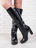 Высокие зимние кожаные сапоги на толстом каблуке. АРТ- 6209-28.3