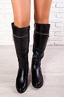 Ботфорты кожаные на низком ходу с декоративной молнией. АРТ-6133-28.3