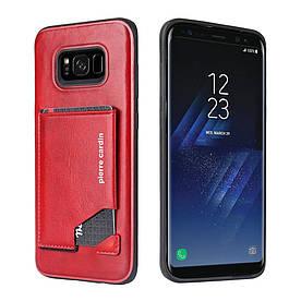 Чохол накладка для Samsung Galaxy S8 Plus G955 шкіряний з відсіком для візиток, PIERRE CARDIN, червоний