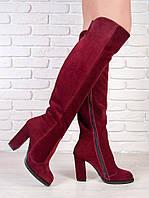 Элегантные замшевые ботфорты на каблуке цвета марсала. АРТ- 6208-28.3