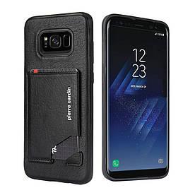 Чохол накладка для Samsung Galaxy S8 Plus G955 шкіряний з відсіком для візиток, PIERRE CARDIN, чорний