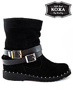Женские ботинки замшевые с пряжкой. АРТ- 6115-28.3