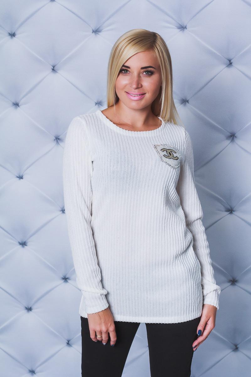 Женская кофта рубчик с разрезами белая