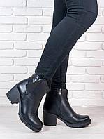 Модные кожаные ботинки на толстом каблуке. АРТ- 5986-28.3