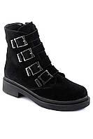 Модные замшевые ботики со стильными пряжками. АРТ- 6176-28.3