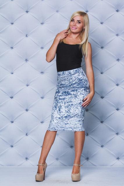 Велюровая юбка - футляр серая