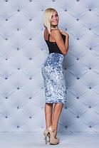 Велюровая юбка - футляр серая, фото 3