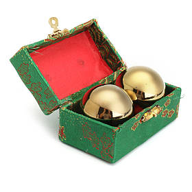 Золотой китайский Здоровый Упражнение Стресс Массаж Металлические шарики С Коробка Баодин