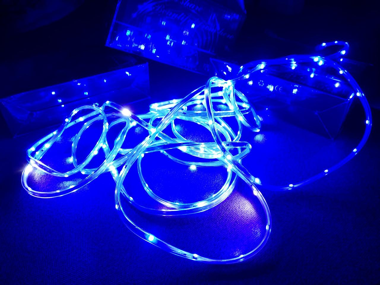 Гирлянда уличная светодиодная лента синяя LED 5 метров