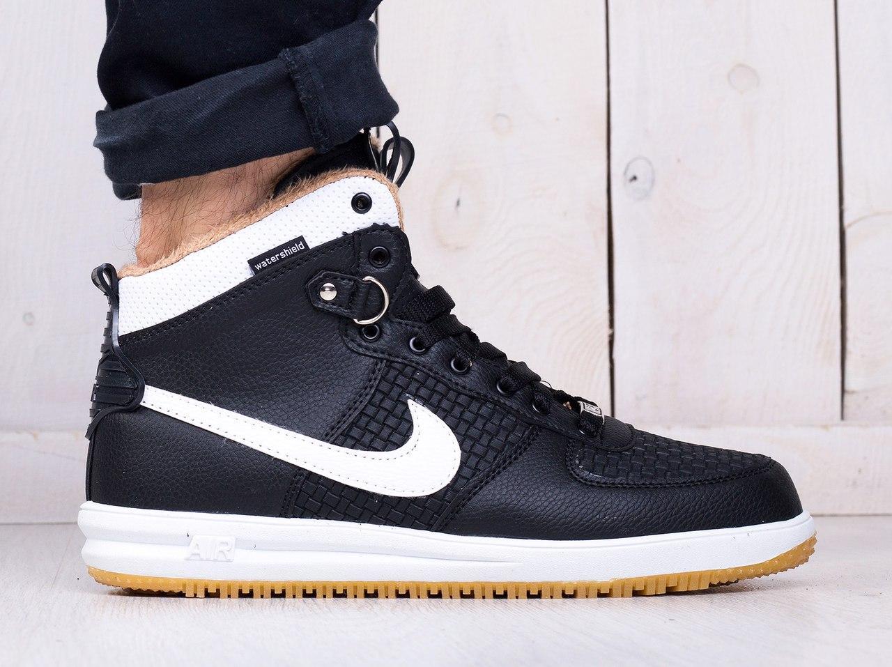 0eb37062 Кроссовки Nike Lunar Force мужские на меху (черные с белым), ТОП-реплика ...