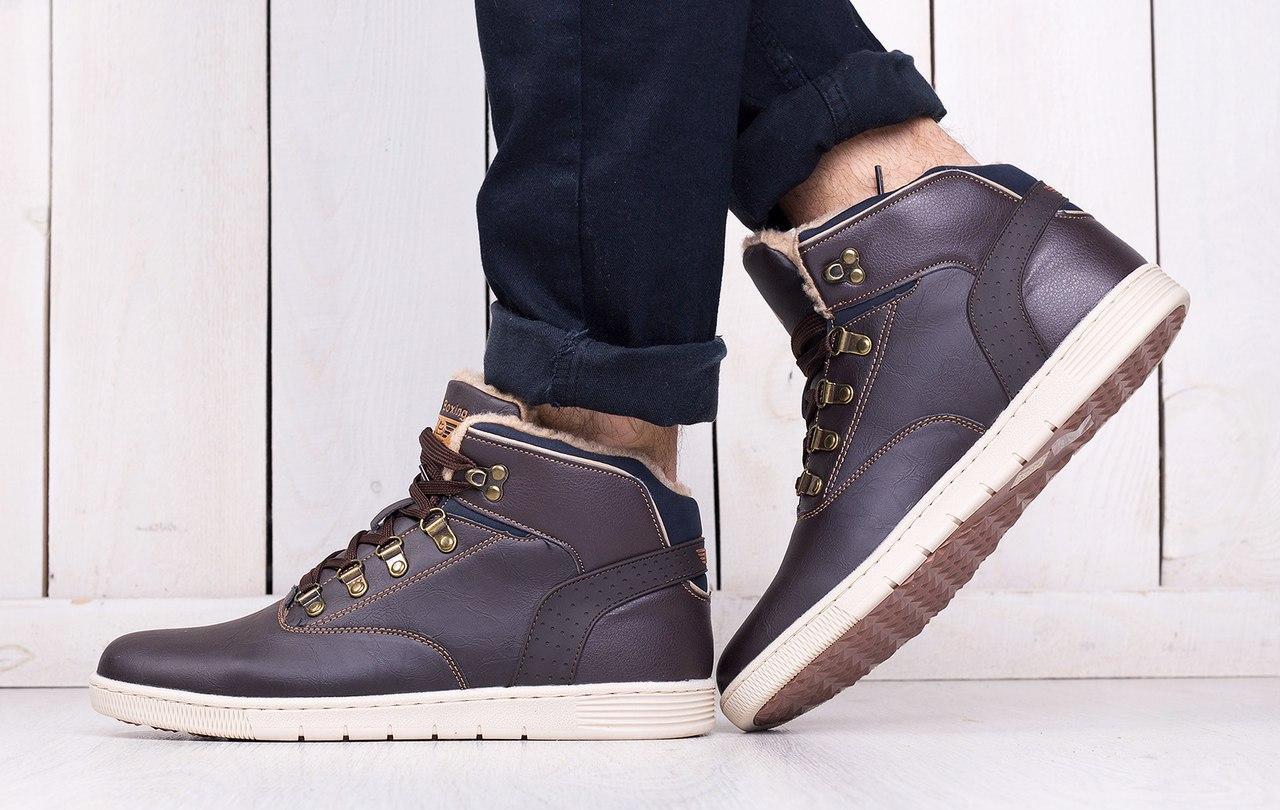 Ботинки Ax Boxing мужские зимние (коричневые), ТОП-реплика