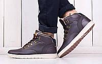 Ботинки Ax Boxing мужские зимние (коричневые), ТОП-реплика, фото 1