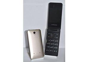 Телефон Раскладушка Samsung 390 золотой  большие цифры