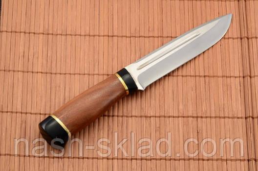 Нож охотничий с рукоятью из Красного дерева с кожаным чехлом + эксклюзивные фото, фото 2
