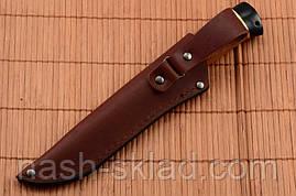 Нож охотничий с рукоятью из Красного дерева с кожаным чехлом + эксклюзивные фото, фото 3
