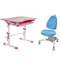 Растущая парта FunDesk Lavoro L Pink + детское ортопедическое кресло SST4 Blue