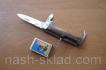 Нож из кинофильма Джеймс Бонд (Mikov) со штопором и открывалкой, рукоять из дерева палисандр, фото 2
