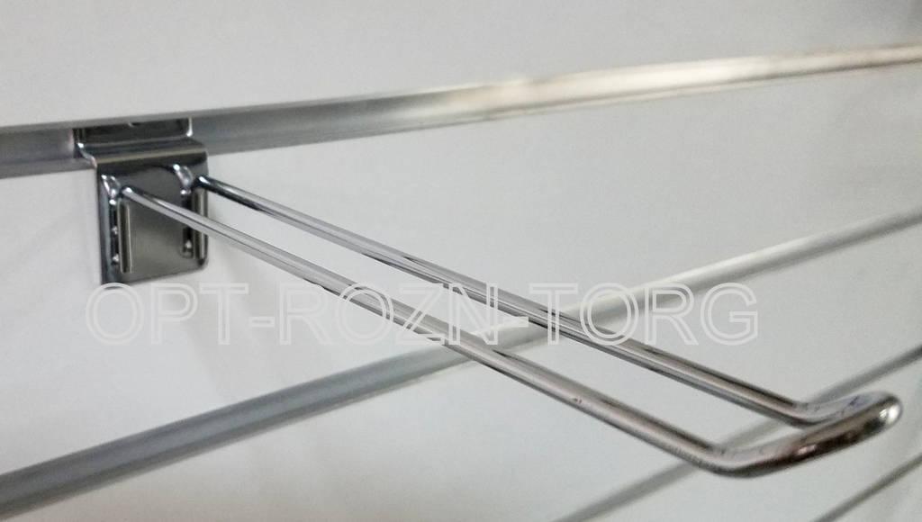 Крючок двойной хром. в эк.панель 20 см.(5 мм.)