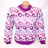Свитер детский для девочки-подростка в сиренево-розовых тонах, р. 42-44