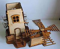 """Подарочный деревянный сувенирный набор """"Мини-бар Млин и стопки"""" ручной работы"""