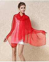 Шелковый шарф красный