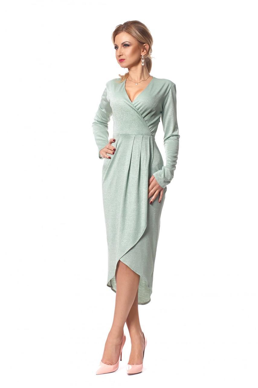 Нарядное платье с запахом мятного цвета
