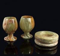 Набор из пепельницы и двух бокалов камень оникс