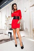 """Кокетливое кожаное платье """"Fransiska"""" с кожаным поясом и гравировкой (3 цвета)"""