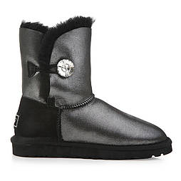 Натуральные угги UGG Australia (Реплика ААА+) Bailey Button Bling Black glitter с пропиткой. Model: 5803
