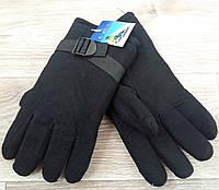 Перчатки мужские флис двойные Gloves, чёрные, длина 26 см, Z-6