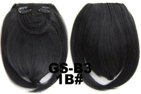 Накладная челка на клипсах из искусственных волос 1B брюнет