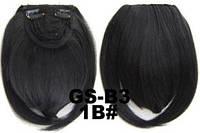 Накладная челка на клипсах из искусственных волос 1B брюнет, фото 1