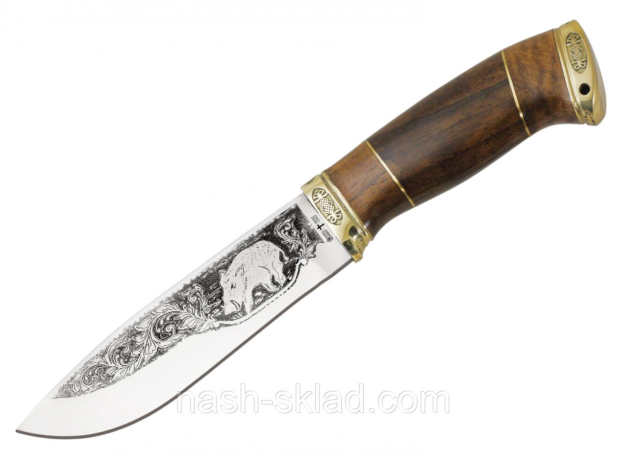 Нож охотничий Вепрь с рисунком, ручная работа, кожаные ножны  в комплекте