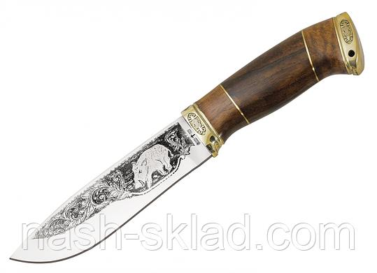 Нож охотничий Вепрь с рисунком, ручная работа, кожаные ножны  в комплекте, фото 2