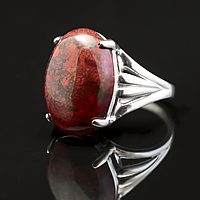 Яшма красная, 18*13 мм., серебро 925, кольцо, 765КЯ