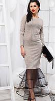 Стильное платье с сеткой