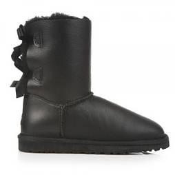 Угги женские натуральные UGG Australia Bailey Bow Leather Black (Реплика ААА+). Живое фото