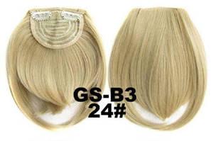 Накладная челка на клипсах из искусственных волос 24 пепельный блонд